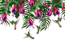 Border With Hummingbirds And Tropical Flowers. Trendy Vector Print.