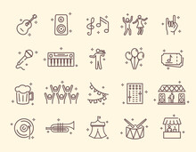 Collection Of Outline Music Festival Icons. Contains Such Icons As Guitar, Singer, Concert, Stage, Happy Dancing People, Violin Player And More. Editable Stroke. Set Of Isolated Vector Illustrations