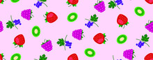 Berries Pattern. Raspberries, Strawberries, Currants And Kiwi. Seamless Texture For Fabric, Web Banner Design. Small Red, Pink, Green  Berries On A Pink Background. Repeating Texture. Delicious Berrie