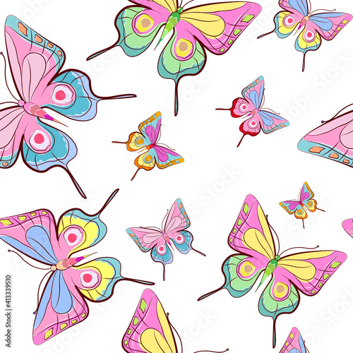 pattern beautiful color butterflies set