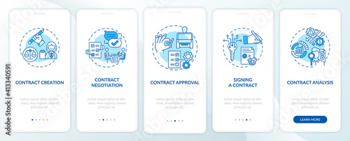 Fotografia Contract lifecycle steps onboarding mobile app page screen with concepts