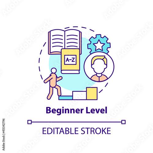 Fotografie, Tablou Beginner level concept icon