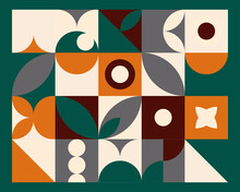 Abstract Geometric Mural Colorful Background In Bauhaus Style. Vector Pattern Design In Scandinavian Style
