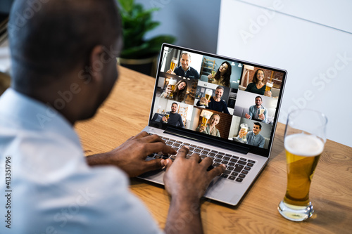 Canvas Print African American Man Video Beer Drinking Party