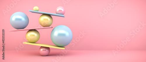 Slika na platnu Close-up Of Balanced Spheres Against Pink Background