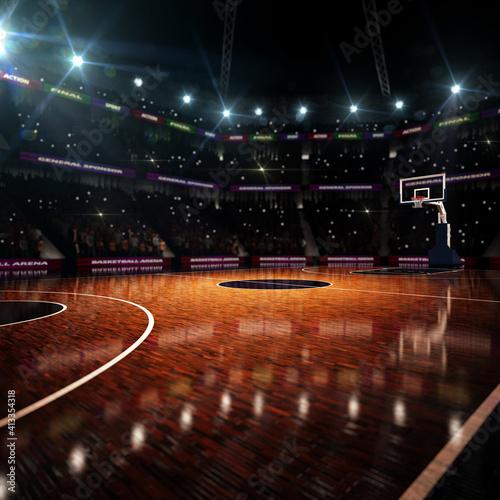 Basketball court. Sport arena. 3d render background