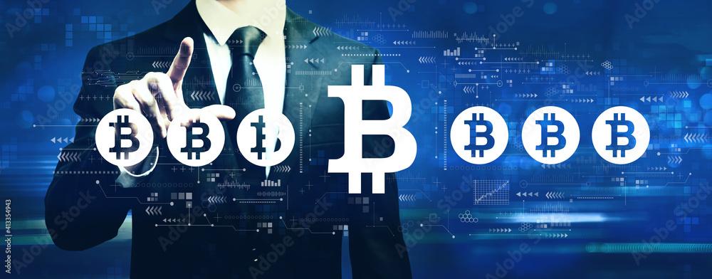 Fototapeta Bitcoin theme with businessman on a dark blue background