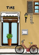 Illustration-Animation Of Cartoon,  Building Beside The Road Where Bicycles Are Parked