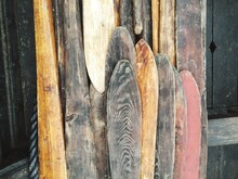 Close-up Of Wooden Oars On Boat
