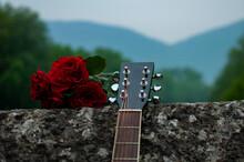 Guitar And Roses On Roman Bridge In Sarajevo