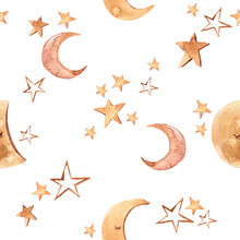Watercolor Modern Boho Beige Moon And Stars Seamless Pattern. Hand Painted Nursery Cute Bohemian Illustration. Baby Pattern Can Be Used For Scrapbook Paper, Wallpaper, Wrapping Paper, Fabric, Textile
