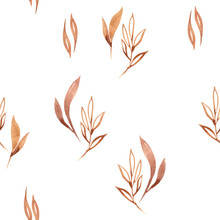 Watercolor Modern Boho Beige Florals Seamless Pattern. Hand Painted Nursery Cute Bohemian Illustration. Baby Pattern Can Be Used For Scrapbook Paper, Wallpaper, Wrapping Paper, Fabric, Textile