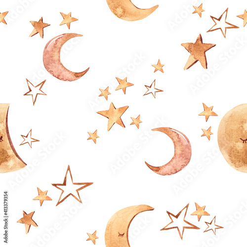 Fototapeta Watercolor modern boho beige moon and stars seamless pattern