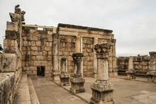 Israel, Capernaum. Ruins Of The 4th Century Synagogue.