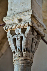 Israel, Jerusalem. Mount Zion, upper room, pulpit detail showing pelicans, a Christian symbol.