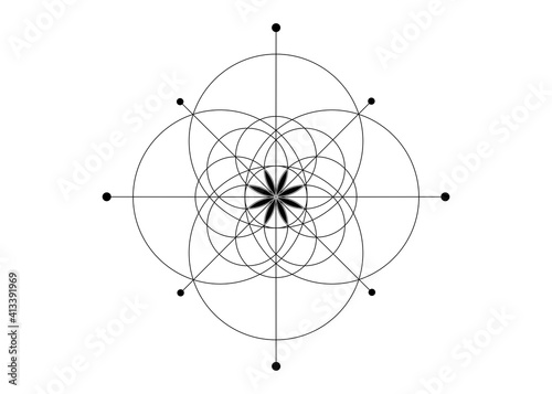 Canvas Print Sacred Geometry, Seed of life symbol