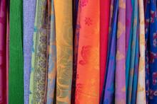 Singapore, Chinatown. Detail Of Typical Textile Souvenir Scarves.
