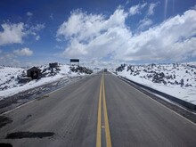 Icey Road On Top Of A Mountain