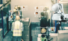 Facial Recognition Technology For Industry Worker To Access Machine Control . Future Concept Interface Showing Digital Biometric Security System That Analyze Human Face To Verify Personal Data .