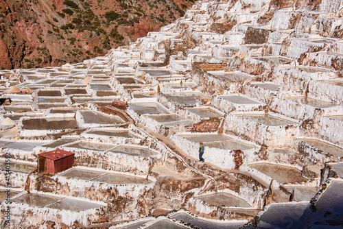 Obraz na płótnie Beautiful view of the salt pans of Maras, Sacred Valley, Peru