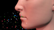 Human Nose Inhaling Colorful Particles . Person Breathes Out, Exhales Colored Dots. 3d Render Illustration