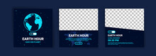 Collection Of Social Media Posts For The Earth Hour. Campaign For Climate Change Awareness By Turning Off Unused Lights And Electronic Equipment For 1 Hour.