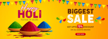 Vector Illustration Of Holi Banner For Sale And Promotion For Festival Of Colors Celebration With Message Biggest Sale.