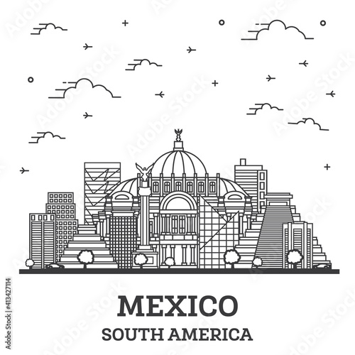Outline Mexico City Skyline with Historical Buildings Isolated on White.