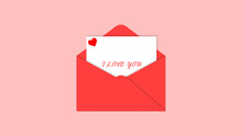 Valentine Day Love Letter Envelop And Card Template Red Heart Vector Illustration