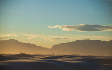 Dramatic Landscape Photos Of The Largest Gypsum Sand Dunes In The World. The White Sands National Park In The Chihuahuan Desert In New Mexico. One Of USA's Newest National Park.