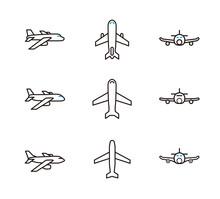 旅行媒体の挿絵カットやUIに使える飛行機アイコン9種セット