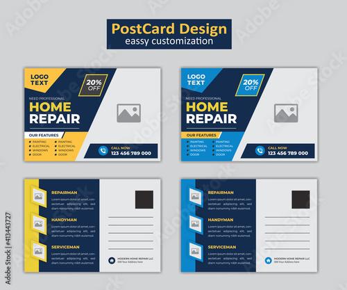 Obraz Real Estate home repair postcard template with blue & orange elements. - fototapety do salonu