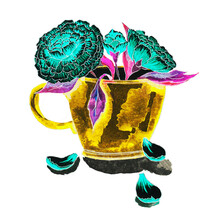 A Yellow Mug, A Glass, A Cup Of Tea With Open Blue, Turquoise Flowers And A Bud With Curved Fallen Petals With Red, Pink Purple Leaves