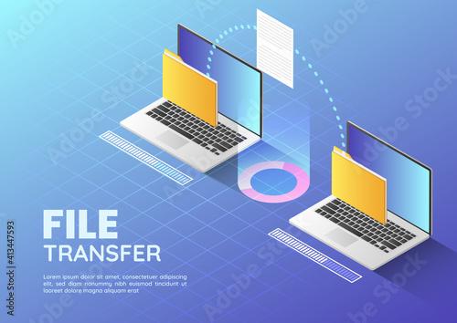 Stampa su Tela Isometric web banner Two Laptop Transfer Files and Organize Folder