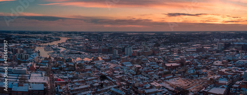 An aerial photo of in Ipswich, Suffolk, UK at sunset Fototapeta