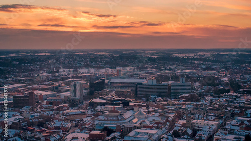 Stampa su Tela An aerial photo of in Ipswich, Suffolk, UK at sunset