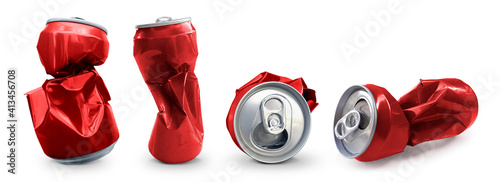 Compressed cans isolated on a white background © supachai