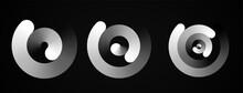 Set Of Circular Spiral Rhythms Sound Wave In Form Lines, Black Color.