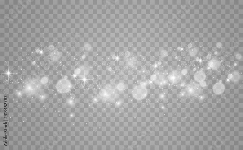 Obraz Beautiful sparks shine with special light. Vector sparkles on a transparent background. Christmas abstract pattern. A beautiful illustration for the postcard. The background for the image. Luminaries. - fototapety do salonu