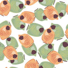 Seamless Pattern In Doodle Style With Hand Drawn Random Orange And Green Butterfly Fishes. Isolated Print.