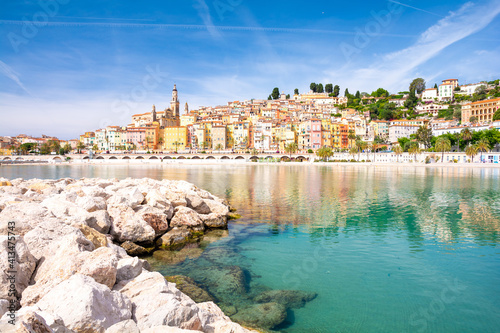 colorful town Menton on cote d'azur in south France фототапет