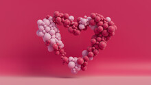 Multicolored Balloon Love Heart. Light Pink And Dark Pink Balloons Arranged In A Heart Shape. 3D Render