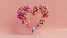 Multicolored Balloon Love Heart. Pink, Orange And Gold Balloons Arranged In A Heart Shape. 3D Render