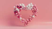 Multicolored Balloon Love Heart. Pink, White And Metallic Balloons Arranged In A Heart Shape. 3D Render