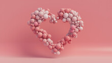 Multicolored Balloon Love Heart. Pink, Polka Dot And Striped Balloons Arranged In A Heart Shape. 3D Render