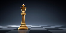 Golden Chess King - Business Leader Concept - Strategy Planning And Competition