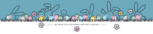 We Wish You A Holy And Blessed Easter Line Design Art Bunny And Flowers Colorful Eggs In Grass Easter Egg Hunt Spring Pastel Color Palette 2021 Greeting Card