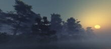 Fog Over The Water, Forest On The Riverbank In The Morning In The Fog, Haze Over The Water On The Shore, 3D Rendering