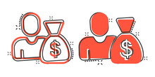 People With Money Bag Icon In Comic Style. Businessman Bag Cartoon Vector Illustration On White Isolated Background. Bank Splash Effect Business Concept.