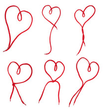 Hearts Set Of A Red  Shoelace
